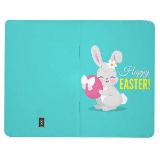 Cute cartoon rabbit girl hugging easter egg journal