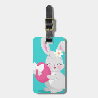 Cute cartoon rabbit girl hugging easter egg luggage tag