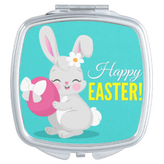 Cute cartoon rabbit girl hugging easter egg mirror for makeup