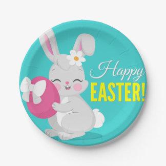 Cute cartoon rabbit girl hugging easter egg paper plate
