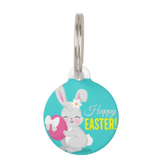 Cute cartoon rabbit girl hugging easter egg pet ID tag