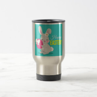 Cute cartoon rabbit girl hugging easter egg travel mug