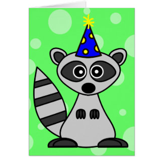 Cute Cartoon Raccoon Birthday Card