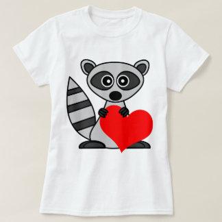 Cute Cartoon Raccoon Holding Heart T-Shirt