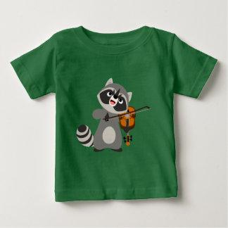 Cute Cartoon Raccoon Playing Violin Baby T-Shirt