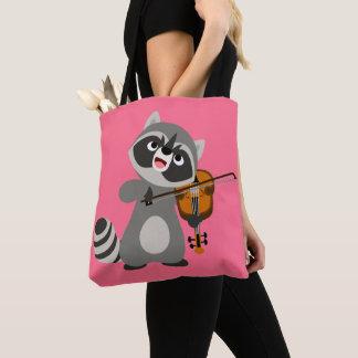 Cute Cartoon Raccoon Playing Violin Tote Bag