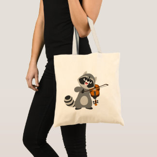 Cute Cartoon Raccoon Playing Violin Tote Bag