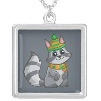 Cute Cartoon Raccoon Silver Plated Necklace