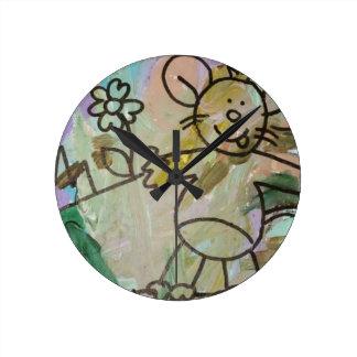 Cute Cartoon Rats Round Clock