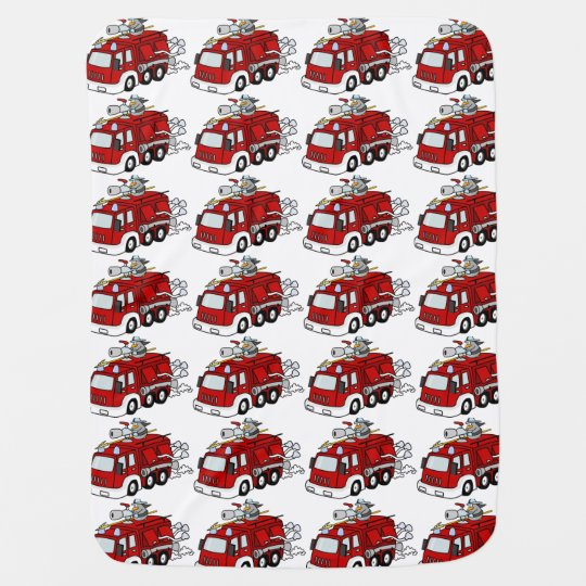 Cute Cartoon Red Fire Truck Engine and Fireman Boy Baby Blanket