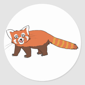 Cute Cartoon Red Panda Sticking Out Tongue Classic Round Sticker