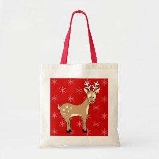 Cute Cartoon Reindeer Holiday Tote Bag