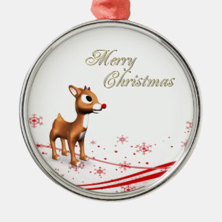 Cute Cartoon Reindeer Silver-Colored Round Ornament