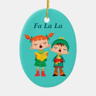 Cute Cartoon Retro Christmas Carolers Ceramic Oval Ornament