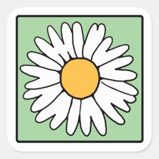 Cute Cartoon Retro Daisy Spring Garden Flower Square Sticker