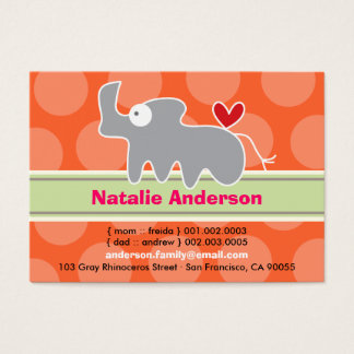 Cute Cartoon Rhino Kid Photo Profile Calling Card
