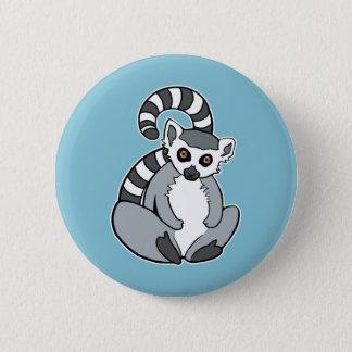 Cute Cartoon Ring-Tailed Lemur 2 Inch Round Button