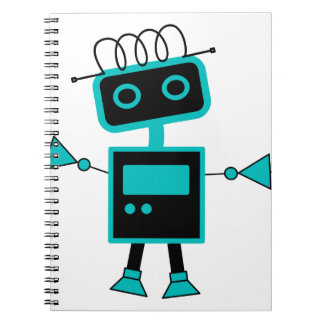 Cute Cartoon Robot made of Electronic symbols Spiral Notebook