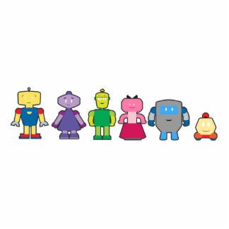 Cute Cartoon Robots Standing Photo Sculpture