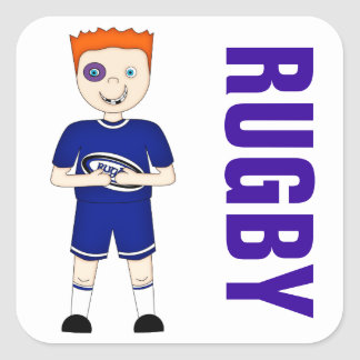 Cute Cartoon Rugby or Rugger Player in Blue Kit Square Sticker