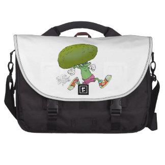 Cute cartoon running Broccoli. Laptop Messenger Bag