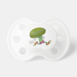 Cute cartoon running Broccoli. Pacifier
