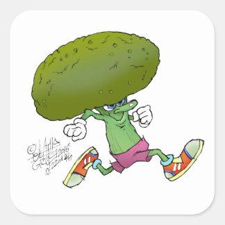 Cute cartoon running Broccoli, square sticker. Square Sticker