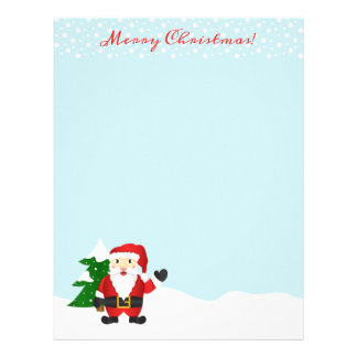 Cute Cartoon Santa Claus Merry Christmas Letterhead