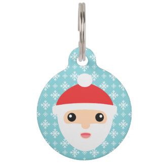 Cute Cartoon Santa Claus With Pet's Info Pet Tags