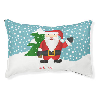 Cute Cartoon Santa Claus With Pet's Name Christmas Pet Bed