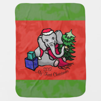 Cute Cartoon Santa Elephant First Christmas Baby Blanket
