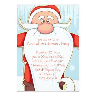 "Cute Cartoon Santa with Long Beard Christmas Party 5"" X 7"" Invitation Card"