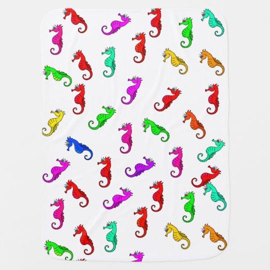 Cute cartoon seahorse baby blankets