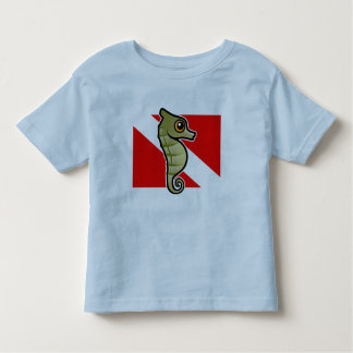 Cute Cartoon Seahorse Dive Flag Toddler T-shirt