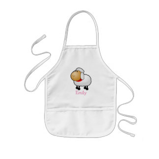 Cute cartoon sheep personalized with childs name kids' apron