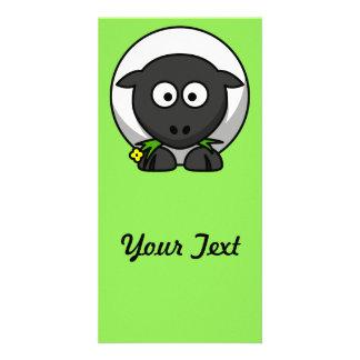 Cute Cartoon Sheep With Green Background Customized Photo Card