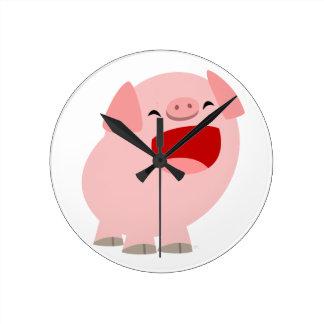 Cute Cartoon Singing Pig Wall Clock
