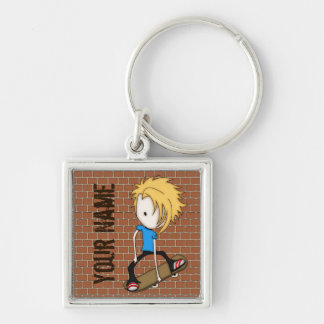 Cute Cartoon Skateboarder Teen Boy Blonde Hair Keychain
