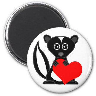 Cute Cartoon Skunk Holding Heart 2 Inch Round Magnet