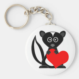 Cute Cartoon Skunk Holding Heart Basic Round Button Keychain