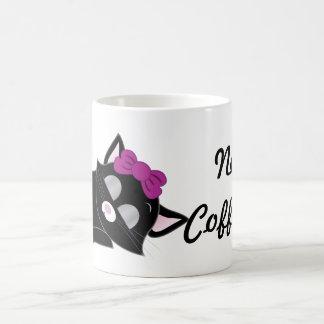 Cute Cartoon Sleepy Kitten Basic White Mug