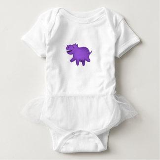 Cute cartoon smiling hippo baby bodysuit