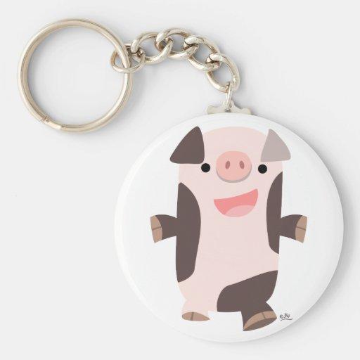 Cute Cartoon Smiling Pig Keychain