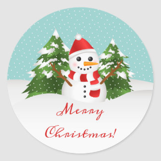 Cute Cartoon Snowman And Merry Christmas Text Classic Round Sticker