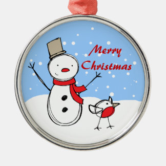 Cute Cartoon Snowman and robin Metal Ornament