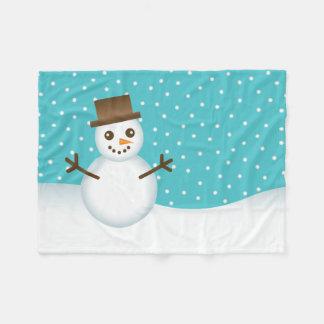 Cute Cartoon Snowman Fleece Blanket