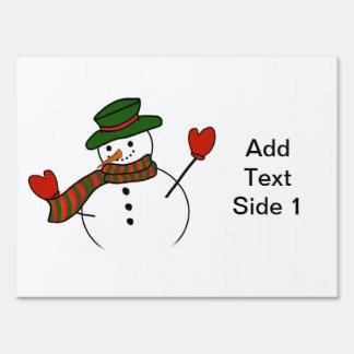 Cute Cartoon Snowman w/Green Hat & Mittens Sign