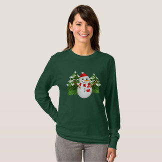 Cute Cartoon Snowman With Red Hat Christmas T-Shirt