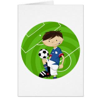 Cute Cartoon Soccer Football Boy Card