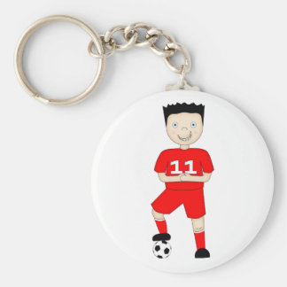 Cute Cartoon Soccer or Football Player in Red Kit Basic Round Button Keychain